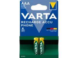 VARTA RECHARGE ACCU Phone NIMH Akku Micro AAA 800mAh 2 Stueck