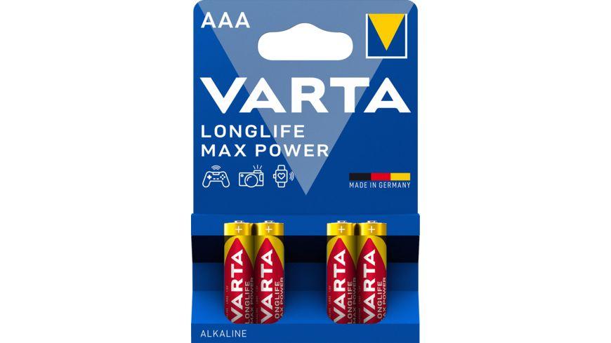 VARTA LONGLIFE Max Power Alkalinebatterie Micro AAA 1,5V - 4 Stück