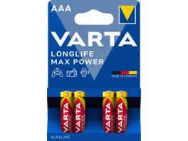 VARTA LONGLIFE Max Power Alkalinebatterie Micro AAA 1 5V 4 Stueck