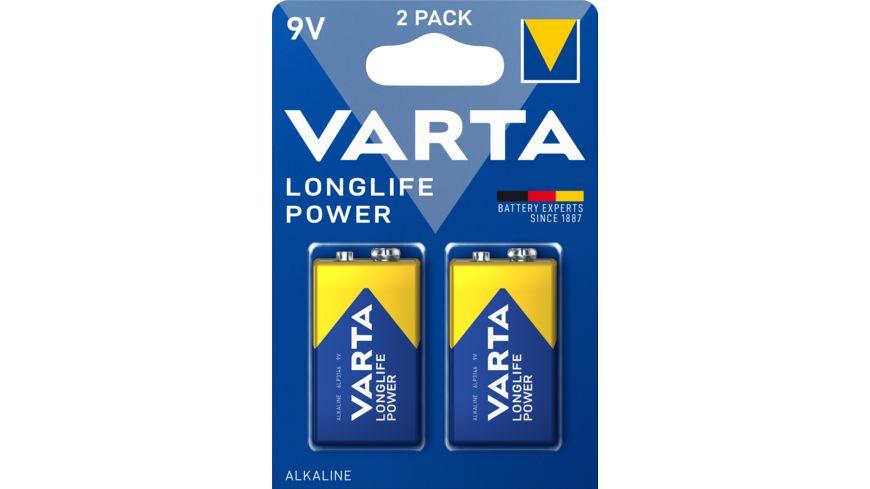 VARTA LONGLIFE Power Alkalinebatterie E Block 9V 2 Stueck