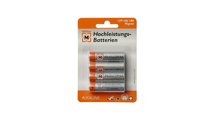 Mueller Hochleistungs Batterie Alkaline Mignon AA 1 5V 4 Stueck