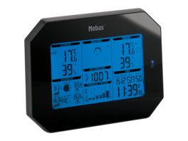 Mebus Funk Wetterstation schwarz 13 5 cm