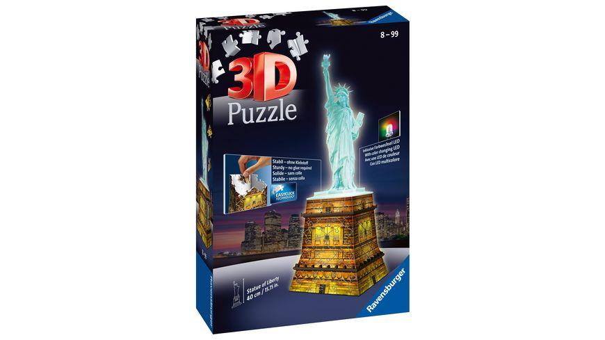 Ravensburger Puzzle 3D Puzzle Freiheitsstatue bei Nacht 108 Teile