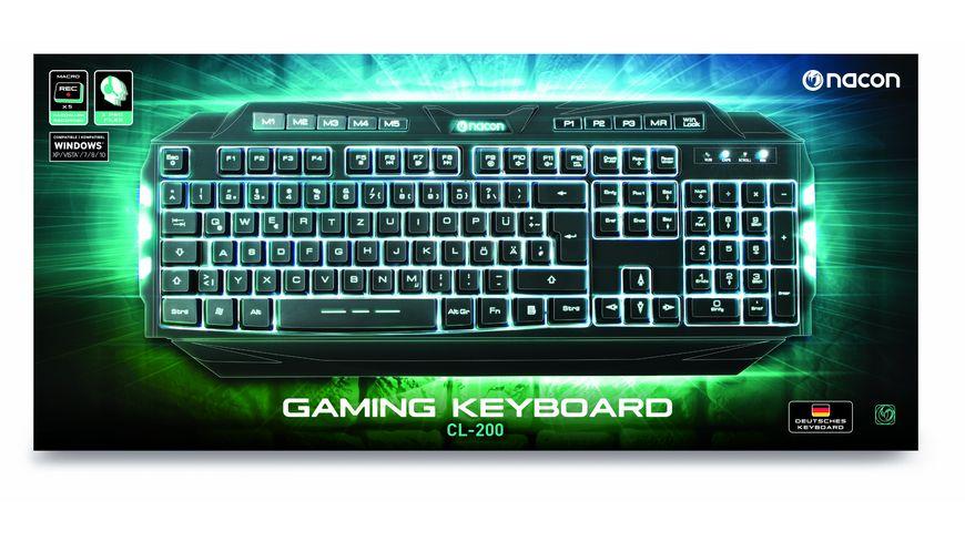 PC Gaming Keyboard CL 200DE kompatibel Windows XP Vista 7 8 10 Beleuchtung 1 farbig Macrotasten Multimediatasten