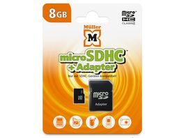 Mueller microSDHC Card 8GB Cl 4 SD Adapter