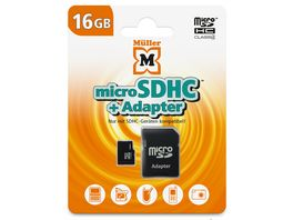 Mueller microSDHC Card 16GB Cl 4 SD Adapter