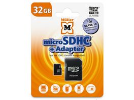 Mueller microSDHC Card 32GB Cl 10 SD Adapter