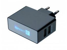 Connect IT Ladegeraet Dual USB Netzteil 2 1A 1A Schwarz