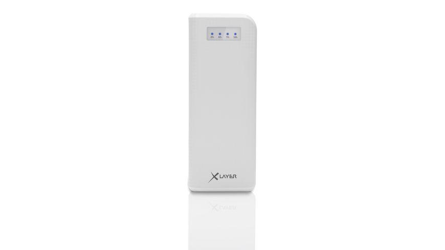 Xlayer Zusatzakku Powerbank Carbon White 15000mAh Smartphones Tablets