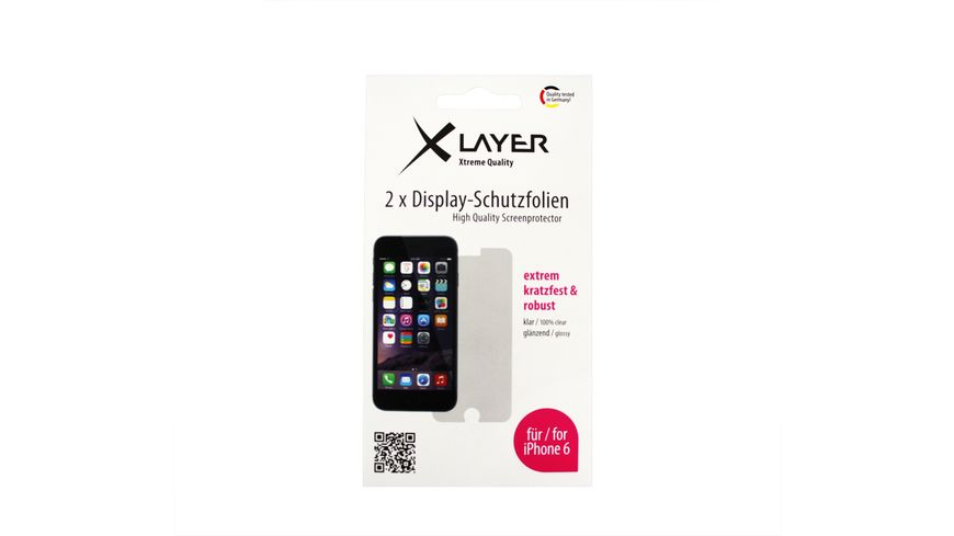 XLayer Schutzfolie 100 clear 2x iPhone 6 6S 4 7