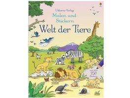 Buch Usborne Verlag Malen und Stickern Welt der Tiere