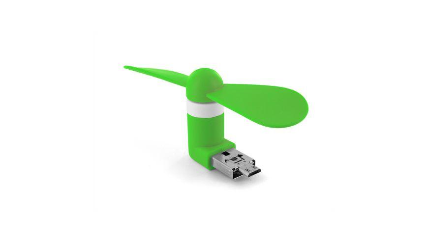 Xlayer Ventilator Colour Line Mini Fan 2 in 1 Micro USB USB Green