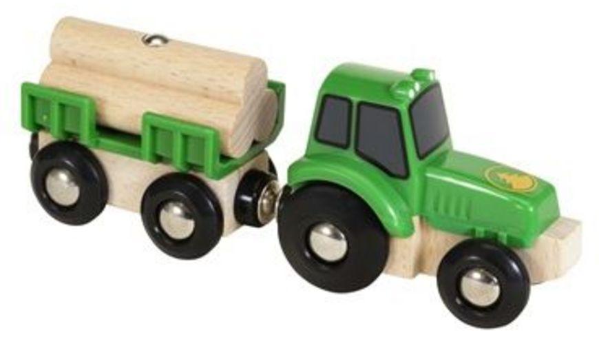 BRIO Bahn Traktor mit Holz Anhaenger