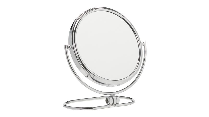 Hand und Stellspiegel 5 fach Vergroesserung silber