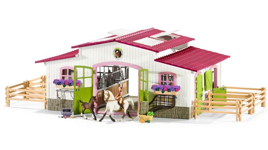 schleich horse club reiterhof mit reiterin und pferden. Black Bedroom Furniture Sets. Home Design Ideas