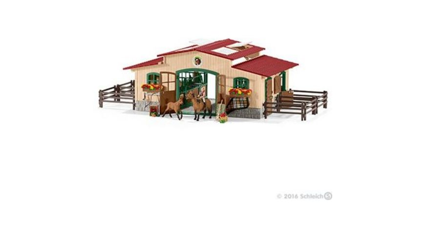 schleich farm world pferdestall mit pferden und. Black Bedroom Furniture Sets. Home Design Ideas