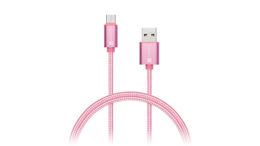 Kabel connect IT PREMIUM Metallic USB C to USB Lade Sync Kabel Pink