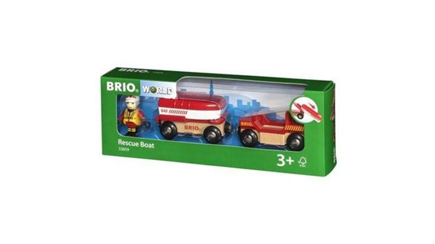 BRIO Bahn Feuerwehr Boot mit Transporter