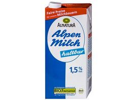 Alnatura Haltbare fettarme Alpenmilch 1 5 Fett