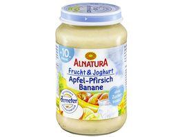 Alnatura Fruechtezubereitung mit Joghurt Apfel Pfirsich Banane