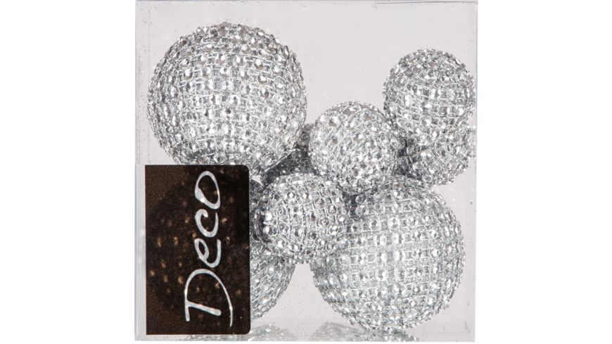 EUROSAND Deko Diamantbaelle silber 8 teilig