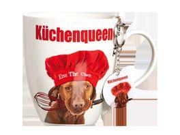 RITZENHOFF BREKER Kaffeebecher mit Schluesselanhaenger Hund mit Hut