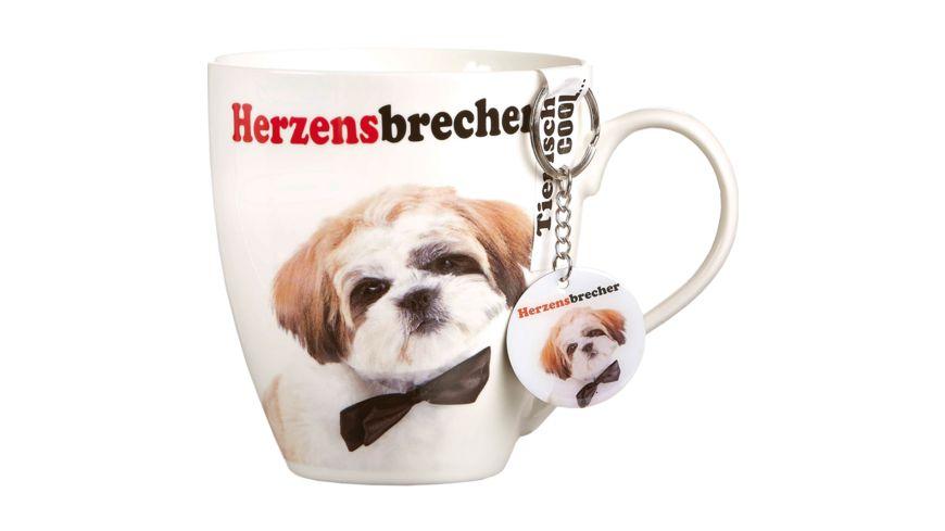 RITZENHOFF BREKER Kaffeebecher mit Schluesselanhaenger Hund mit Fliege