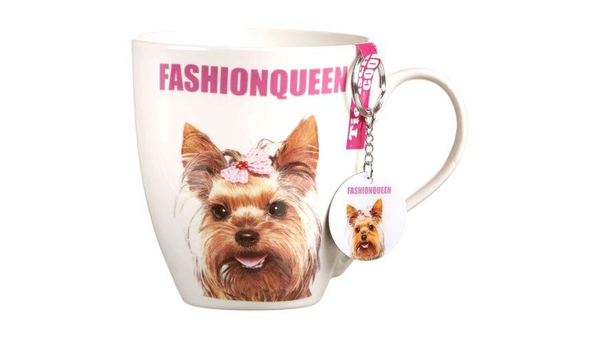 RITZENHOFF BREKER Kaffeebecher mit Schluesselanhaenger Hund mit Zopf