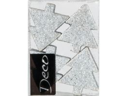 EUROSAND Deko Ornament Tanne silber 8 teilig