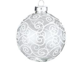 magic Glas Kugel Elegant silber weiss 8 cm