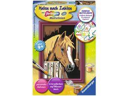 Ravensburger Beschaeftigung Malen nach Zahlen mit farbigen Motivlinien Pferd im Stall