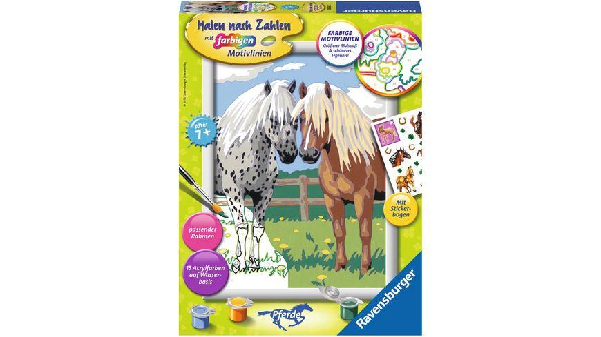 Ravensburger Beschaeftigung Malen nach Zahlen mit farbigen Motivlinien Glueckliche Pferde