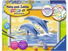 Ravensburger Beschaeftigung Malen nach Zahlen mit farbigen Motivlinien Freunde des Meeres