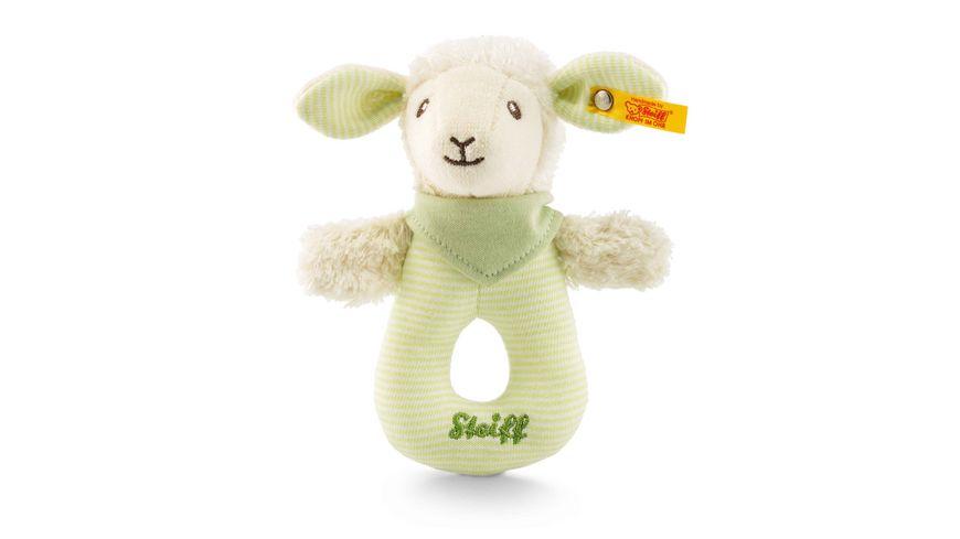 Steiff - Lenny Lamm Greifring mit Rassel, grün, 15cm