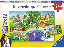 Ravensburger Puzzle Tiere im Zoo 2x12 Teile
