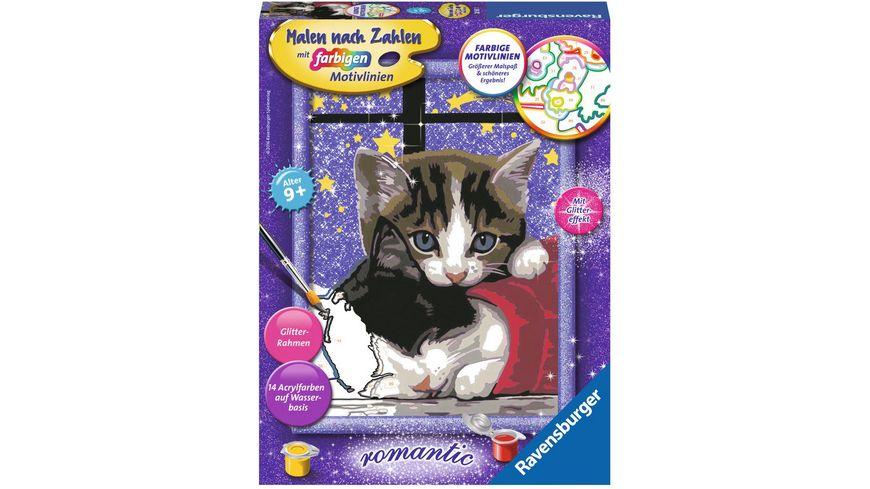 Ravensburger Beschäftigung Malen Nach Zahlen Mit Farbigen Motivlinien Kuschelnde Kätzchen