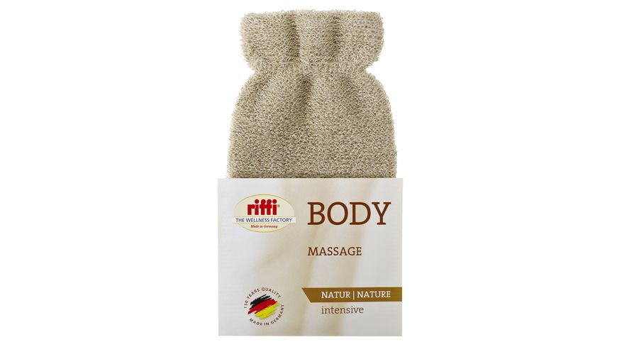 riffi Massage Hanschuh Leinen Massagefaser