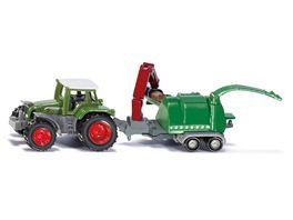 SIKU 1675 Super Traktor mit Holzhaecksler