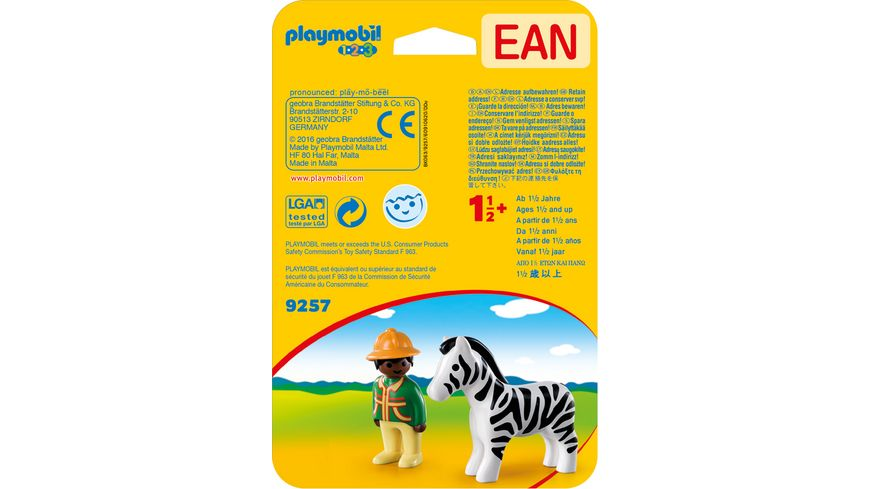 PLAYMOBIL 9257 1 2 3 Ranger mit Zebra