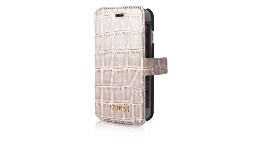 GUESS Folio case croco beige IPH7