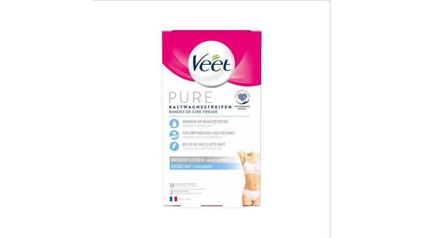 Veet Kaltwachssstreifen Easy Gelwax Technology fuer die Bikinizone Achseln fuer sensible Haut