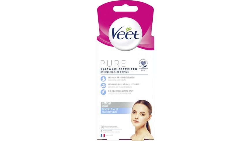 Veet Gesicht Präzisionskaltwachsstreifen Easy-Gelwax Technology für sensible Haut