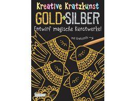 Buch CARLSEN Kreative Kratzkunst Gold und Silber Set mit 10 Kratzbildern Anleitungsbuch und Holzstift
