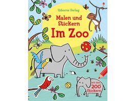 Buch Usborne Malen und Stickern Im Zoo