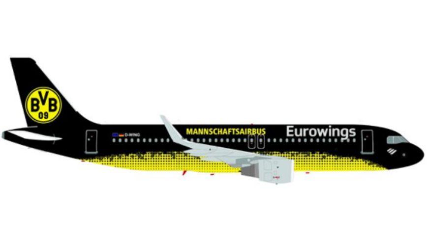 Herpa 611312 Wings Eurowings Airbus A320 BVB Mannschaftsairbus