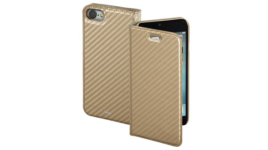 Booklet Guard Case Carbon fuer Apple iPhone 7 Gold