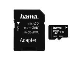 Hama microSDXC 64GB Class 10 UHS I 22MB s Adapter Mobile