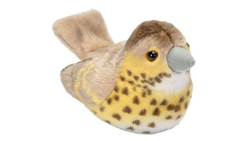 Wild Republic Plueschvogel Singdrossel mit Originalgesang 15 cm