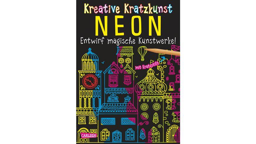 Buch Carlsen Kreative Kratzkunst Neon Set mit 10 Kratzbildern Anleitungsbuch und Holzstift
