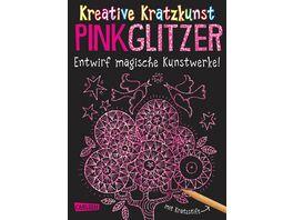Buch Carlsen Kreative Kratzkunst Pink Glitzer Set mit 10 Kratzbildern Anleitungsbuch und Holzstift